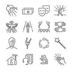 Performance line icon set. Included the icons as mask, mime, stage, concert and more.