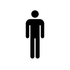 Man icon. Black icon isolated on white background. Man simple silhouette. Web site page and mobile app design vector element.
