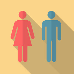Man and woman icon with long shadow. Flat design style. Man and woman simple silhouette. Modern flat icon in stylish colors. Web site page and mobile app design vector element.
