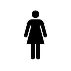 Woman icon. Black icon isolated on white background. Woman simple silhouette. Web site page and mobile app design vector element.
