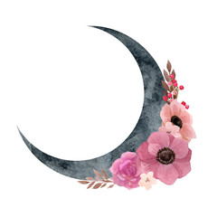 Crescent moon with flower composition. Trendy Bohemian style watercolor illustration with pink anemones, rose and berries. Tribal vibes print