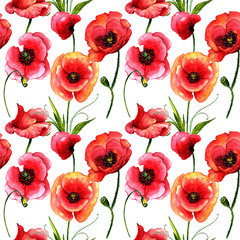 Wildflower poppy flower pattern in a watercolor style isolated.