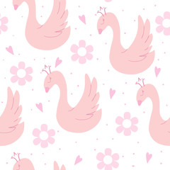 Hand drawn seamless pattern with swan. vector illustration