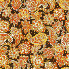 Seamless pattern with paisley ornament. Vector illustration