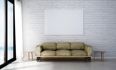 The interior design of minimal living room and white brick wall
