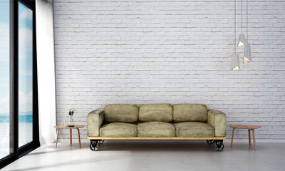 The interior design of minimal living room and white brick wall texture