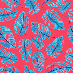 Monstera leaves, tropical watercolor pattern for design.
