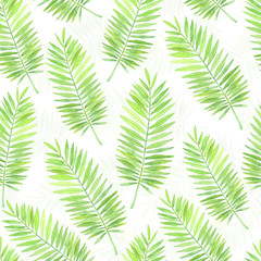 Watercolor seamless pattern with palm leaves. Element for design.