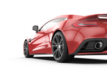 Red sport car isolated on a white background