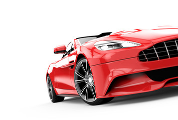 Red luxury car isolated on a white background