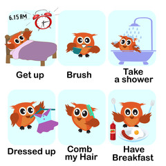 verb word background for preschool.morning set (get up brush take a shower dressed up comb my hair have breakfast).vector illustration.