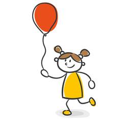Strichfiguren Kinder Mädchen Luftballon