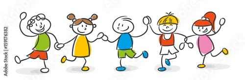 Strichfiguren Kinder Bunt Stock Image And Royalty Free Vector Files