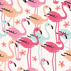 The flock of flamingos on the white background with small plumeria flowers. Vector seamless pattern. Tropical illustration.