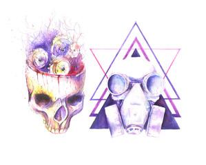 Watercolor human skull steampunk