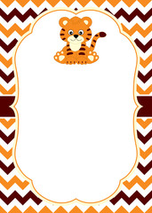 Vector Card Template with a Cute Baby Tiger on Chevron Background.