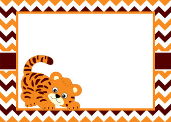 1038378 Vector Card Template with a Cute Baby Tiger on Chevron Background.