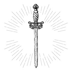 Ornate sword. Hand drawn saber and rays vintage elements in hipster style.