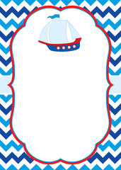 Vector Card Template with a Colorful Ship on Chevron Background.