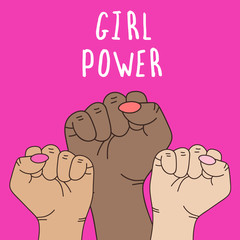 Vector illustration about feminism. Gender equality. Cute and cool cartoon style. Girls rule. Girl power.
