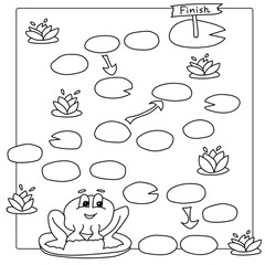 Game template with frog. Vector coloring book pages for children