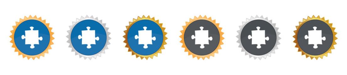 Puzzleteil - Gezacktes Button-Set