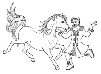 Hand drawn illustration of dancing horse and man black and white