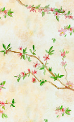 vintage vertical banner with almond blossom flowering twig. watercolor painting