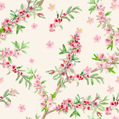 vintage floral seamless texture. watercolor painting