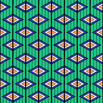 Summer ethnic pattern vector seamless. Abstract geometric rhombus and lines texture. Oriental background print for african fabric, wallpaper, blanket, wrapping paper and indian boho card template.