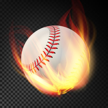 Baseball On Fire. Burning Style. Illustration Isolated On Transparent Background