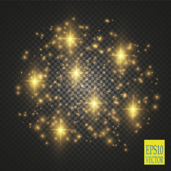 Golden glitter particles with sparkling texture effect. Stardust sparks in explosion on transparent background