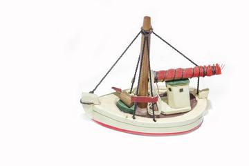 Ship antique model isolated on white background