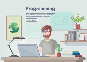 Banner programming and coding. Flat design