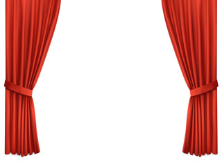 Background with luxury scarlet red silk velvet curtains