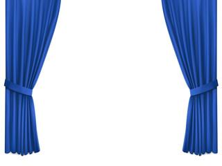 Background with luxury blue silk velvet curtains