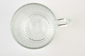 Beer mug isolated, top view. Glassware container on white background.