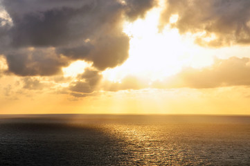 Sea sunset on indian ocean in thailand