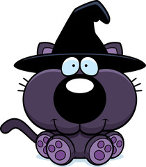 Cartoon Witch Cat Sitting
