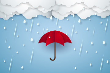 Umbrella with heavy rain , rainy season , paper art style
