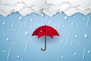 Umbrella with heavy rain , rainy season , paper art style Fotobehang