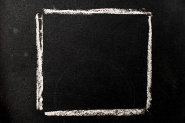 Chalk drawing as square shape as blank stamp or seal on blackboard background