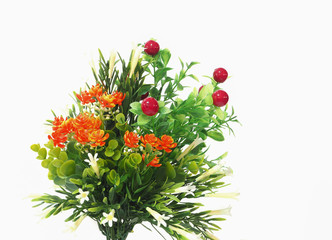 beautiful bouquet of colorful flower on white background