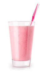 Foto auf Acrylglas Milch / Milchshake strawberry smoothie in glass