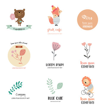 Cute logo design with bear,fox,lion,leaf and flower