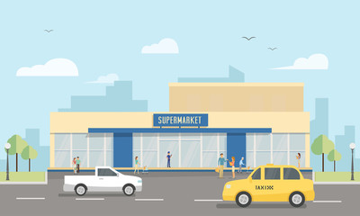 Supermarket. Flat illustration