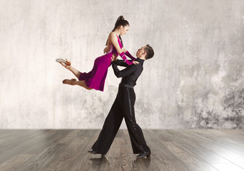 Couple in the active ballroom dance