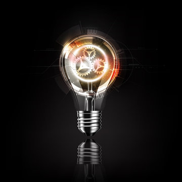 Light bulb with gears inside, futuristic electronic technology and idea concept, transparent vector illustration