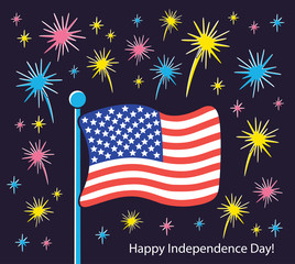 United States of America flag with fireworks. USA Independence Day card.