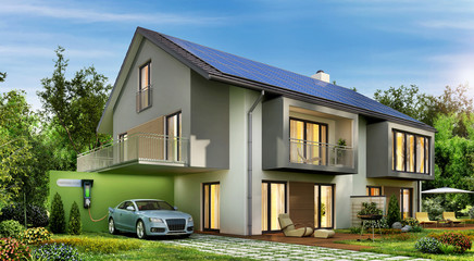 Ecological house and electric car 2